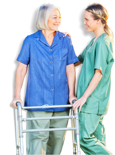 senior woman and caregiver smiling at each other