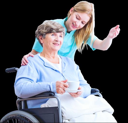 caregiver guiding senior woman